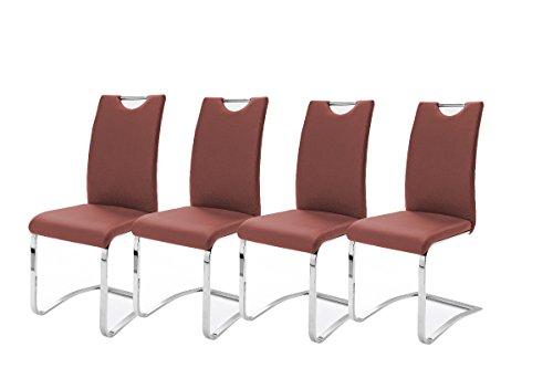 Robas Lund, Stuhl, esszimmerstuhl, Schwingstuhl, Koeln, 4er Set, Chrom/Kunstleder/rot, 43 x 100 x 57 cm, KOEAMRX4