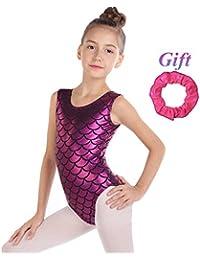 Hougood Filles Justaucorps de Gymnastique Ballet Justaucorps de Danse Body sans  Manches de Danse Costumes écailles b14572bd08a