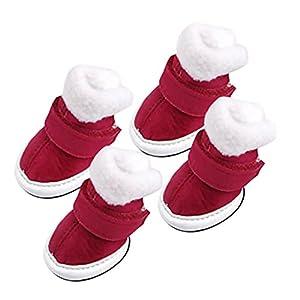 Bottes de chien confortables et Chaudes Chaussures/Vêtements pour chien 1 # - Rouge