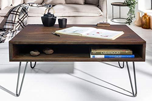 Couchtisch 80 x 80 x 45 cm Massivholz Sofatisch Retro | Design Nierentisch Holz/Metall | Holztisch Wohnzimmertisch massiv | Massivholztisch Kaffeetisch | Tisch Wohnzimmer -