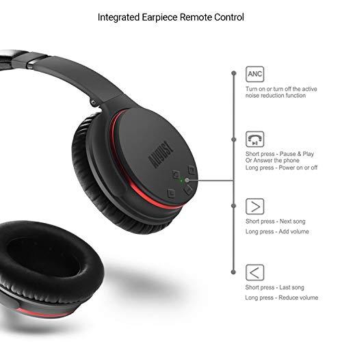 Active Noise Cancelling Kopfhörer mit Bluetooth v4.1 – August EP735 – Aktive Geräusch-Unterdrückung Over-Ear (Multipoint, Mikrofon, Fernsteuerungstasten, bis zu 18h Akku) - 6
