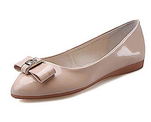 VogueZone009 Femme Pu Cuir Couleur Unie Tire Rond Non Talon Chaussures à Plat Abricot