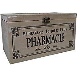 khevga-Caja con tapa: Caja de madera para medicamentos Decoración