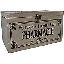 khevga–Caja con tapa: Caja de madera para medicamentos Decoración