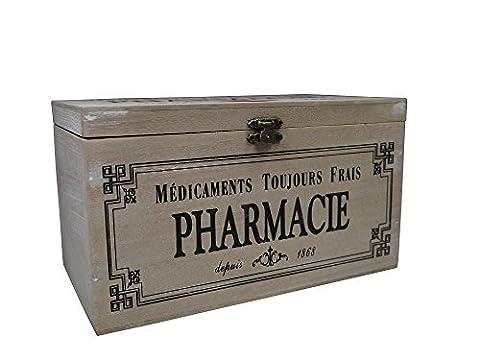 khevga Boîte de rangement avec couvercle : boîte à médicaments en bois déco