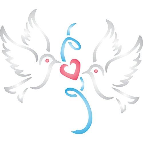 Valentine Doves stencil-riutilizzabili per pittura-migliore qualità Valentine progetto idee-utilizzo su pareti, tessuti, vetro, legno, carte, e molto altro ancora...