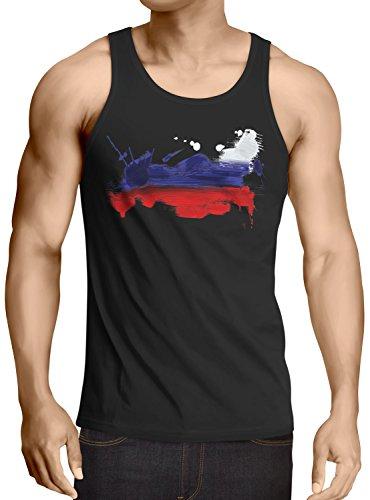 CottonCloud Flagge Russland Herren Tank Top Fußball Sport Russia WM EM Fahne, Größe:S, Farbe:Schwarz