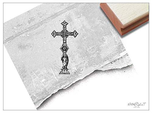 Stempel Motivstempel Kreuz Kirchenkreuz - Bildstempel Religion Gott Glaube Kirche Ostern Taufe Kommunion Trauer Beileid, Trauerstempel - zAcheR-fineT (klein ca. 24 x 49 mm)