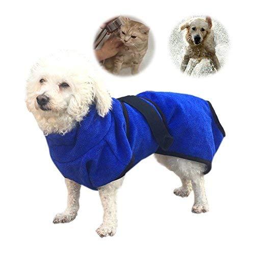 Petcomer Mikrofaser Hund Bademantel Waschbare Katze Schnell trocknend Badetuch Super Absorbent Pet Coat mit verstellbaren Trägern Blau (XL)