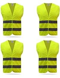 d1cdfa9912f9 4x Auto Warnweste Set Unfallweste Pannenweste Sicherheitswarnweste EN 471  mit Reflektorstreifen und Klettverschluss, gelb orange