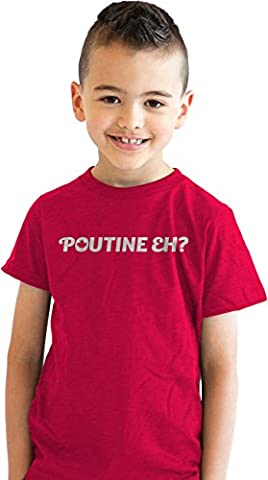 Crazy Dog TShirts - Youth Poutine Eh Funny Canadian Country Pride T shirt Homeland Tee for Kids (Red) M - Enfant