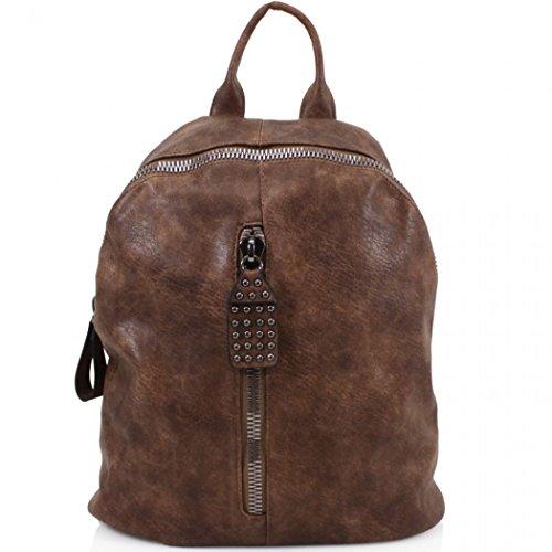 LeahWard Mädchen Qualität Faux Leder Rucksack Taschen Frauen Nizza Rucksack Tasche Handtaschen für Schulferien Rucksack für Jungen CW9050 (M9050 Grün Rucksacktasche) M9050 Braun Rucksacktasche