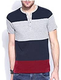 Urbano Fashion Men's Navy Blue, Grey, Maroon Henley Neck Half Sleeve T-Shirt