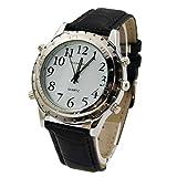 ALIKEEY Herren Chronograph Quarzwerk Sprechende für Blinde oder Sehbehinderte Sehen Sie selbst Uhr mit Metall Armband