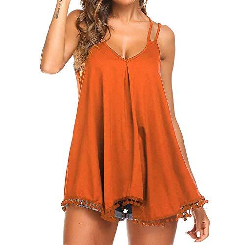 ODJOY-FAN Tank Tops Damen Weste Blusen T-Shirts Flowy V-Ausschnitt Beiläufig Sexy Sommer Schulterfrei Ärmellos Tops Bluse(Orange,L) -