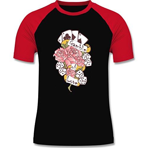 Rockabilly - Gamble of love - zweifarbiges Baseballshirt für Männer Schwarz/Rot