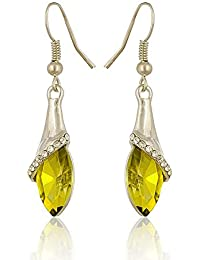 Sanak Creations Green (Pista) Crystal Silver Earrings Party Wear Dangler & Drop Earrings For Girls & Women