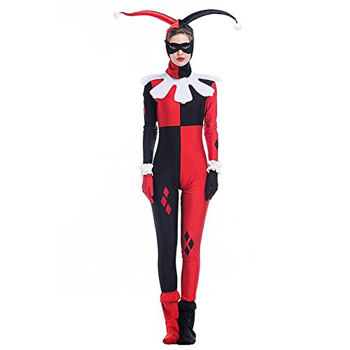 Hallowmax Damen Allerheiligen Kleidung Harley Quinn Cosplay Clown-Anzug Zirkus Kostüm (Harley-damen-hut)