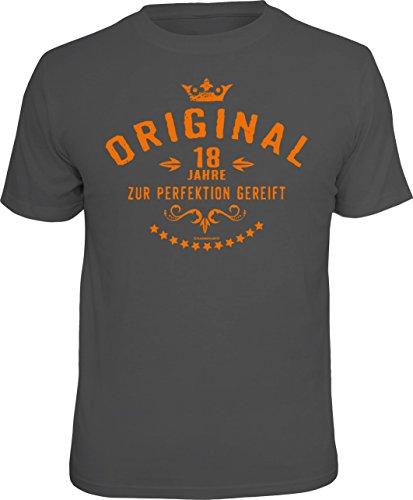 Das Geschenk-T-Shirt zum 18. Geburtstag: Original 18 Jahre - zur Perfektion gereift M grau 1936