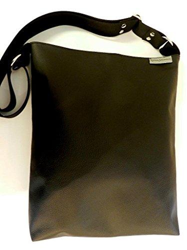 Umhängetasche aus Kunstleder - SCHWARZ - und Innenstoff aus 100% Baumwolle mit Reißverschluss, Innentaschen, verstellbarem Gurt und Schlüsselband - Geschenk Weihnachten Geburtstag