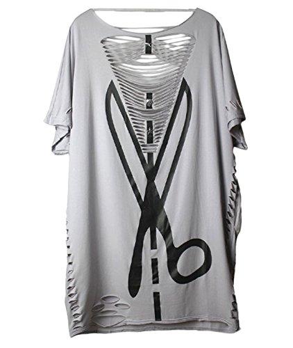 Aivtalk - Camiseta T-shirt punk para Mujer de Verano Vintage Estilo Punk Rock Casual - gris - Tamaño Libre