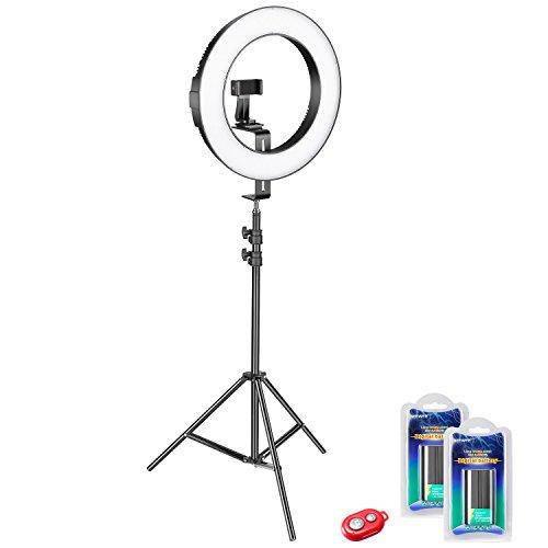 Neewer 14 Zoll Außendurchmesser Dimmbares Bi-Farbe SMD LED Ringlicht Set für Kamera Handy Fotostudio Videoaufnahmen mit Lampenstativ Handyhalter Li-Ionen-Akku Funkauslöser