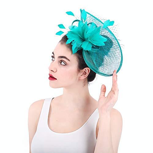 Wenzhihua Womens Elegante Feder Haar Fascinator Hut Headwear Blume Haarband Hochzeit und Royal Ascot Races Hochzeitshüte für Frauen