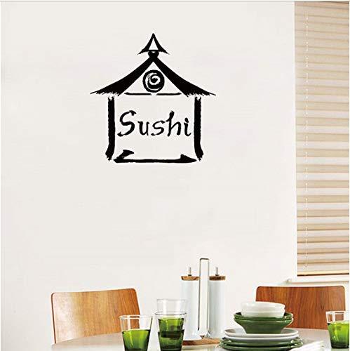 Wandtattoo Japanisches Essen Sushi Bar Vinyl Wandaufkleber Restaurant Küche Logo Kunstwand Interior Home Decor Fashion 57X58Cm -