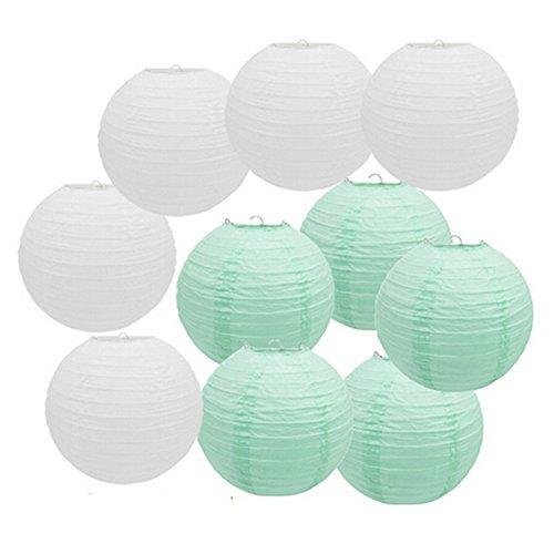 10Stück mint grün weiß Papier Laterne Hochzeit Taufe Mädchen Baby Dusche Party Dekoration zum Aufhängen für, Papier, Mint Green, White, 10 of 8inch
