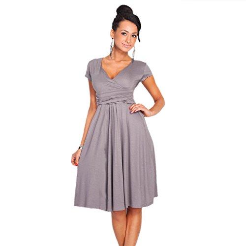 GWELL Retro Vintage Damen V-Ausschnitt Sommer Kleid Strandkleid Swing Kleider Elegant Grau