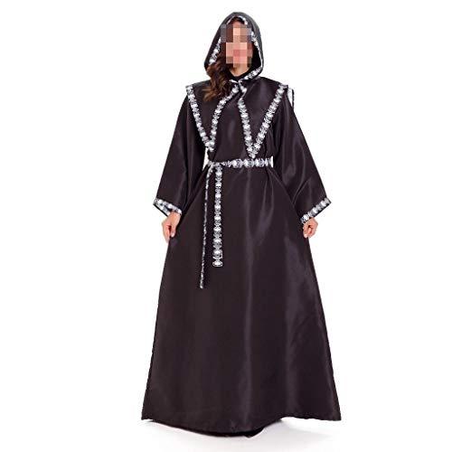 Damen-Nachthemd mit Kapuze und Retro-Kapuze in Langen Abschnitten for Halloween-Kostüme for Männer und Frauen, die Zauberer sind, um Kleidung zu Spielen (Color : Black, Size : Women) (Männer Böse Zauberer Kostüm)