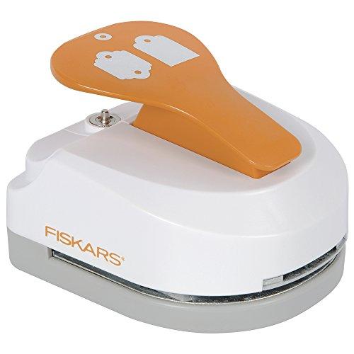 Fiskars Perforatrice Tag Maker 3 en 1 et œillets - Essentiel/Feston, pour 2 étiquettes (4.5 x 3.25 cm chacune), Avec 20 œillets, Acier de qualité/Plastique, Blanc/Orange, 1020500