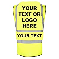 Customised/Personalised Hi vis-viz vest/waistcoat EN471class2 Printed personalised safety high visibility vest with your text or logo by Productsave