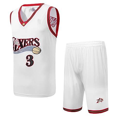 Philadelphia 76ers No. 3 Allen Iverson Trikot NBA Herren Basketball Uniform Anzug,White,L