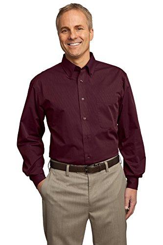 Port Authority Herren ist groß Tonal Muster Easy Care Shirt Rot - Maroon