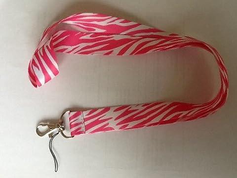 Pink Tiger Print Student Work Pass ID Card Key Holder Lanyard