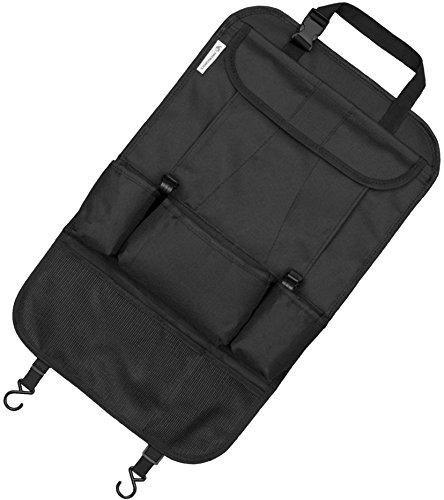 Rücksitz Organizer zum Schutz Ihrer Autositze, Rücksitztasche, Rückenlehnenschutz (Schwarz)