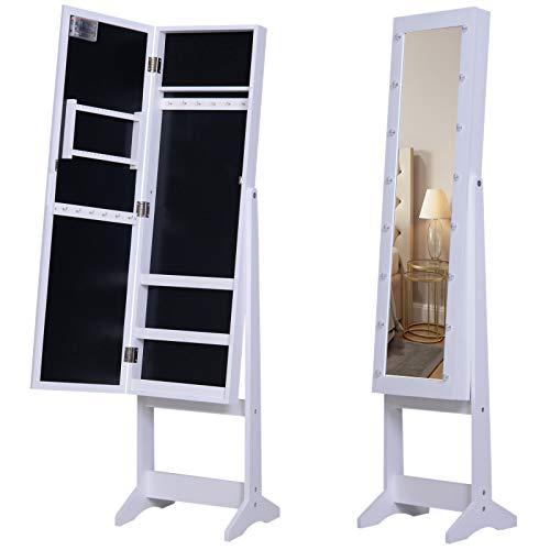 HOMCOM LED Schmuckschrank mit Spiegel Spiegelschrank Standspiegel Schmuckregal Spiegel verstellbar Weiß 136 cm hoch