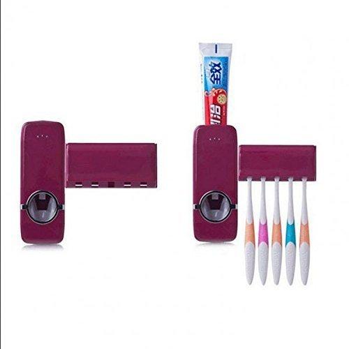 Nopea Automatischer Zahnpastaspender Bürstenhalter Zahnpasta Squeezer mit Zahnbürstenhalter Einfach Einsetzbares Zahnpastaspender und Halterung Rotwein