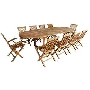Salon de jardin en teck huilé SUMATRA 10/12 personnes – Table ovale + 8 chaises pliantes et 2 Fauteuils Offerts