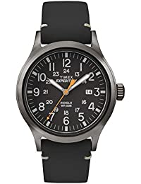Timex Men's Quartz Watch with Black Dial Analogue Display and Black Leather Strap TW4B01900