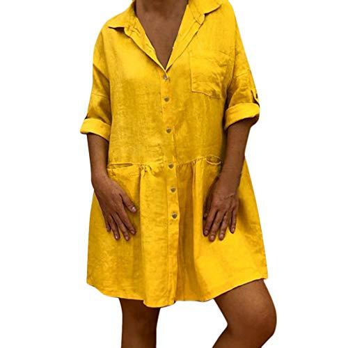 Sommer Elegant Grosse Grössen Einfarbig Lässig Lose Baumwolle und Leinen Tasche Knopf Dresses for Women (Gelb,S) ()