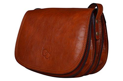 - 41AbkaS1jqL - Genuine Italian Leather Classic Saddle Bag Style, Women's Crossbody Bag, Shoulder Bag, Handbag (Brown)