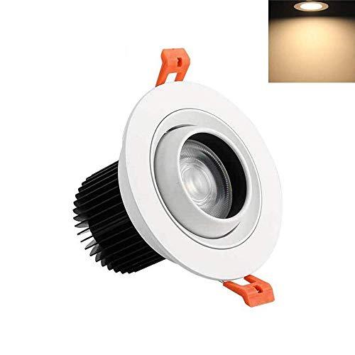 FuweiEncore Starke Aluminium LED Deckenstrahler Einstellbare Beleuchtungswinkel High Power Einbau COB Downlight Hotel Schmuck Kleidung Counter Spot Birne (Farbe : 12w, Größe : -) -
