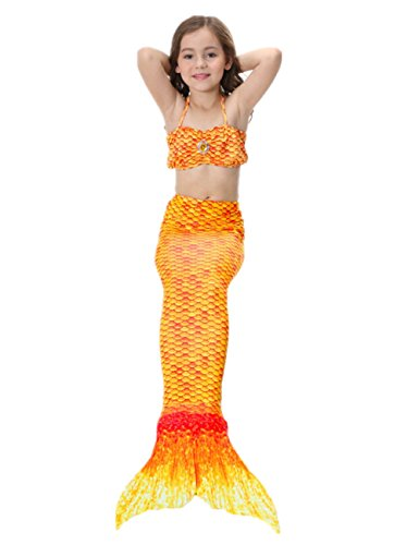 Imagen de prettycos 3pcs bikini traje de bano sirena princesa mermaid swimsuit disfraz de sirena cosplay naranja