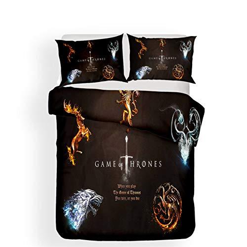 SDZSH 3D Bettwäsche Set Game of Thrones Drucken Bettbezug-Set mit Kissenbezug Zuhause Textilien (1 Bettbezug + 2 Kissenbezüge),AUDouble -