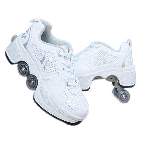 SHANGN Inline-Skate, 2-in-1-Mehrzweckschuhe, Verstellbare Quad-Rollschuh-Stiefel,White-38