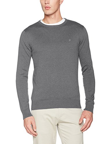 Grau Männer Casual Herren Bekleidung (TOM TAILOR Herren Pullover Basic Crew-Neck Sweater, Grau (Snow Slush Grey Melange 2819), Small)