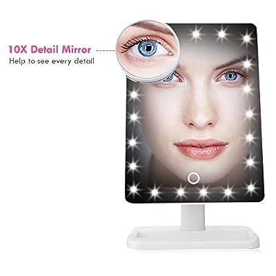 SKM 20 LEDs Schminkspiegel Eckspiegel mit Zusätzlich Lupe Rundspiegel, Dimmbar Standspiegel mit Touch-Schalter (Weiß) von SKM auf Spiegel Online Shop
