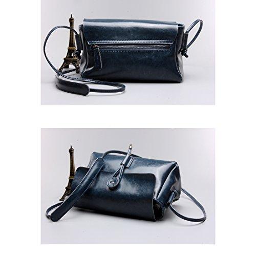 cad19e38db84f Plover s Bag Damen Wachsartiges Leder Kleine Tasche Handtasche Crossbody  Würfel blau